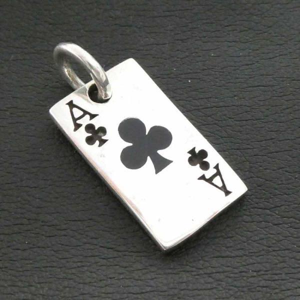 Kreuz Ass Schmuck Spielkarte Silberanhänger