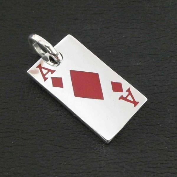 Karo Ass Anhänger Spielkarte Silber