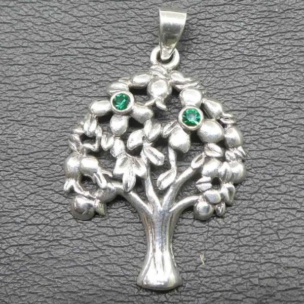 Lebensbaum Kette Schmuck  Zirkonia grün