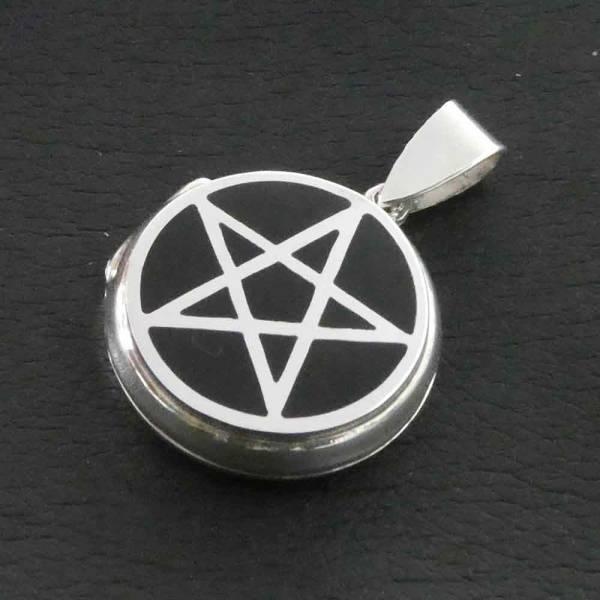 Pentagramm Medaillon Kette Silber