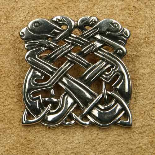 Brosche keltische Hunde Silberschmuck