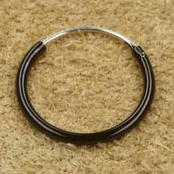 Creolen schwarz 14mm 925 Sterlingsilber