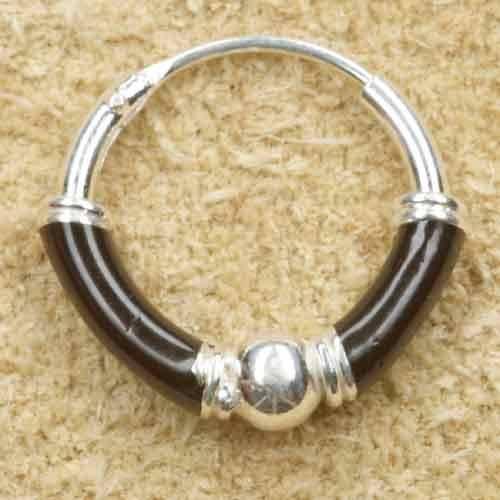 Creole 925 Silber Ohrring schwarz 12mm