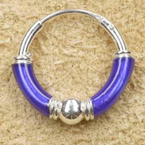 Creole 925 Silber Ohrring blau 12mm