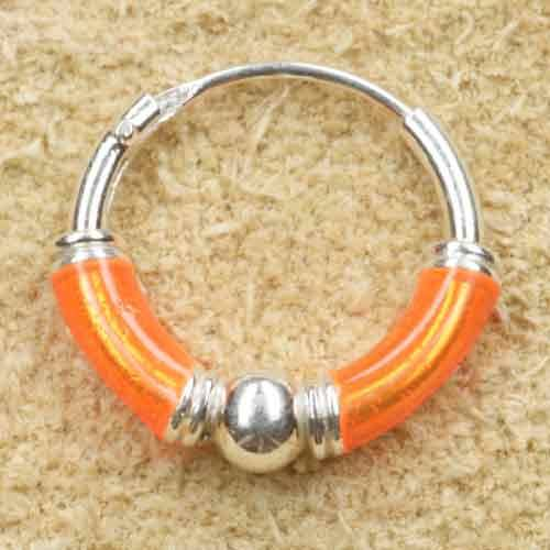 Creole 925 Silber Ohrring orange 12mm