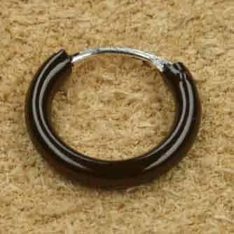 Schwarze Creole 925 Silber Ohrschmuck 14mm