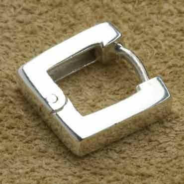 Creole mit Scharnier 11mm quadratisch 925 Silber