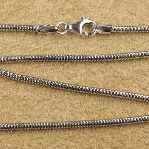Schlangenkette 1,9mm rhodiniert diverse Längen