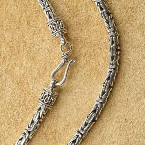 Königskette 3 mm runde Silberkette 925 Silber verzierter Verschluss