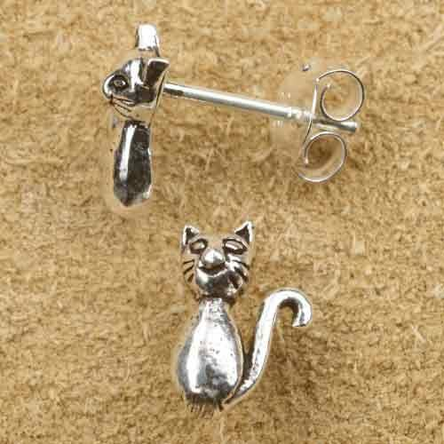 Katze Ohrstecker Ohrring Silber