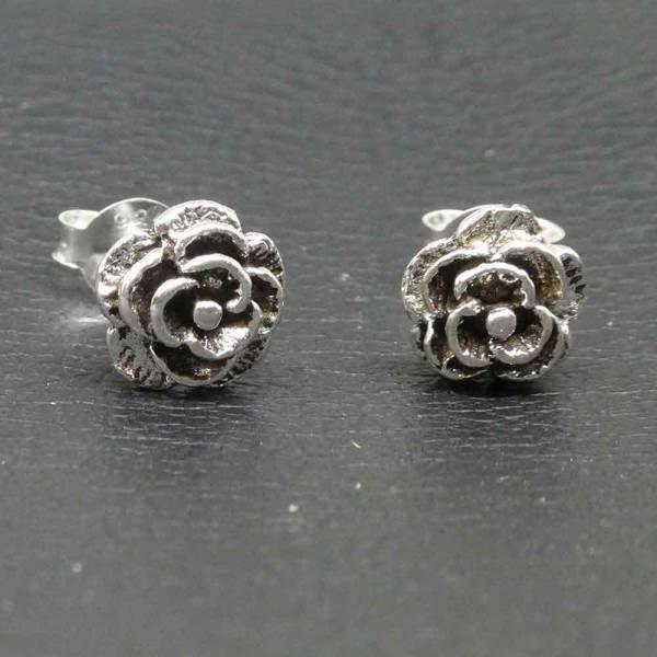 Rose Ohrstecker Silber Rosen Ohrring