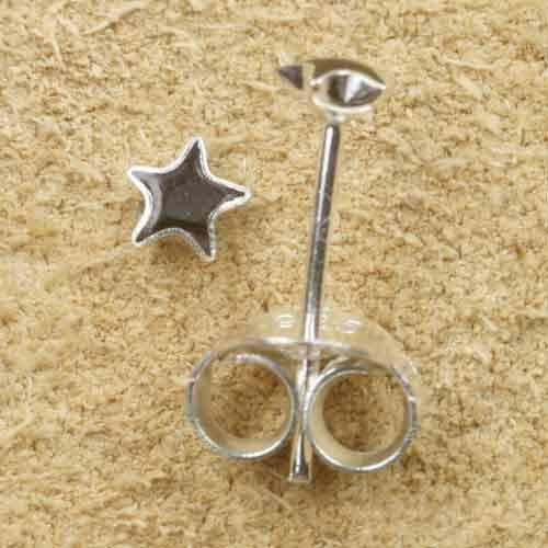 Stern schwarz Ohrstecker 925 Silber