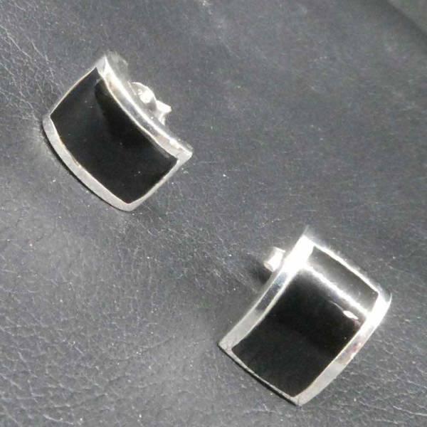 Ohrringe Silber mit schwarzem Inlay