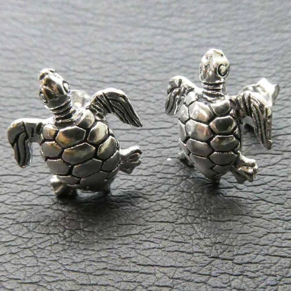 Wasser Schildkröte Ohrschmuck Ohrstecker Silber