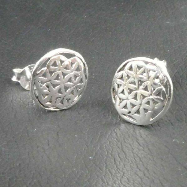 Blume des Lebens Ohrstecker Silber