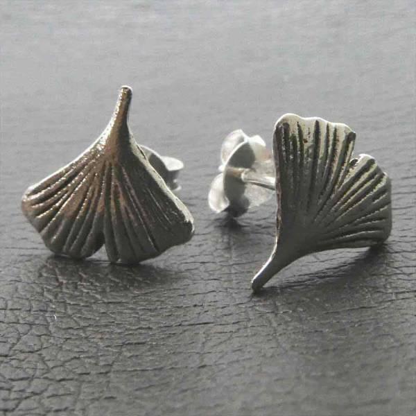 Ginkgo Blatt Ohrstecker Silber Ohrringe