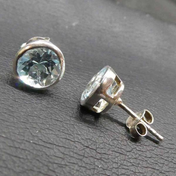 Topas Ohrstecker schlicht Silber