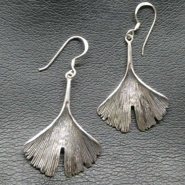 Ginkgo Blätter Ohrschmuck Silber