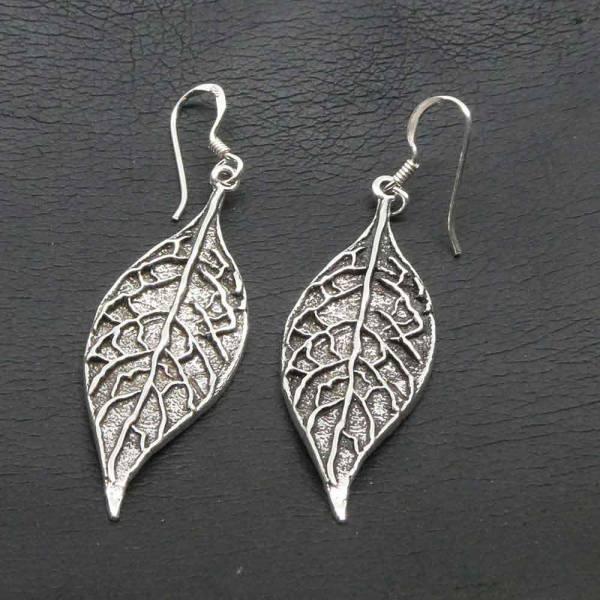 Blätter Silber Ohrhänger Einhänger Schmuck