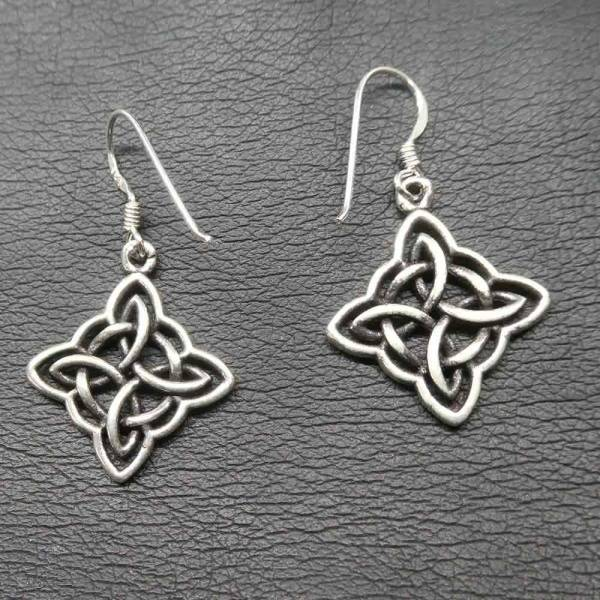 Keltische Ohrringe Silber Ohrhänger Quadrat