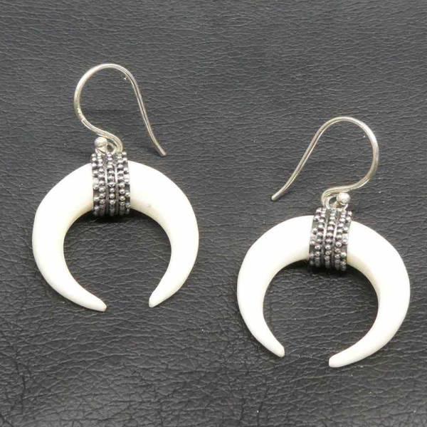Extravagante Ohrringe Silber und Knochen Schmuck