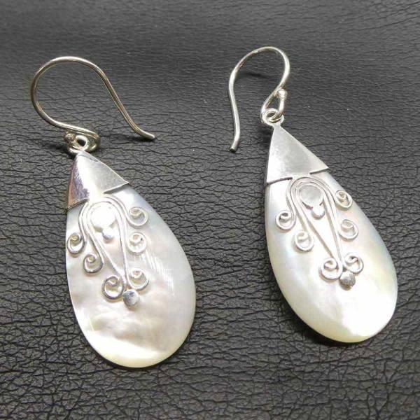 Ornament Ohrschmuck Silber Perlmutt