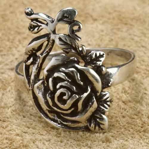 Rose Silberring 925 Sterlingsilber