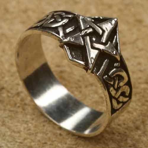 Pentagramm Silberring 925 Sterlingsilber Bandring