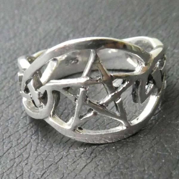 Keltischer Ring Pentagramm Silber
