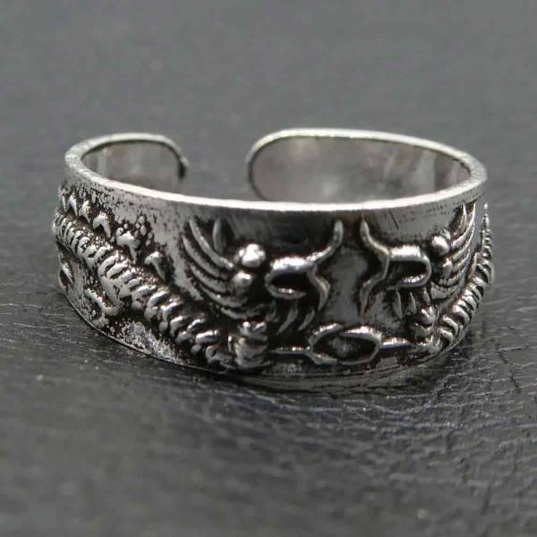Drachen Zehenring Fuß Schmuck Silber