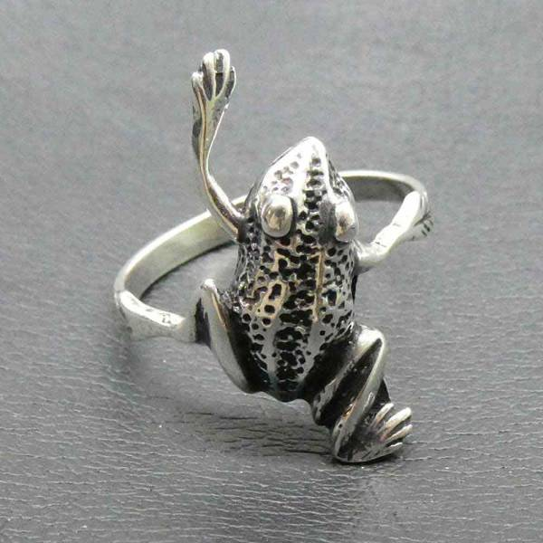 Frosch Ring Schmuck Silber