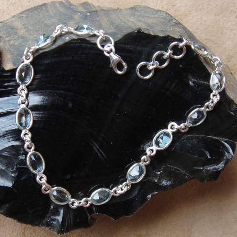 Blauer Topas Edelstein Armband 925 Silber Schmuck