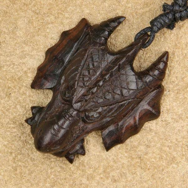 Drachen Schmuck Holz Kette