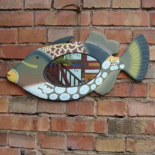 Fisch Spiegel aus Holz bemalt