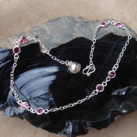 Fußkettchen rosa Zirkonia Silber