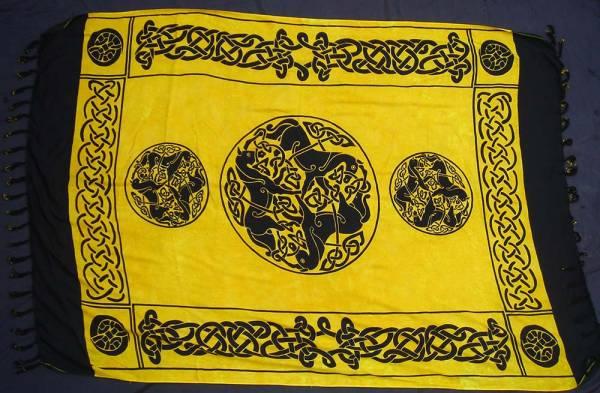 Tuch keltische Pferde gelb