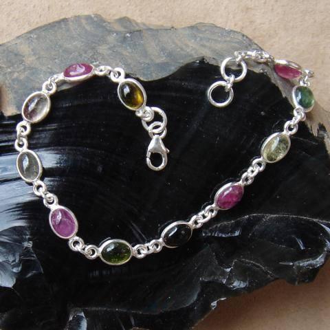 Turmalin Edelstein Armband 925 Silber Schmuck