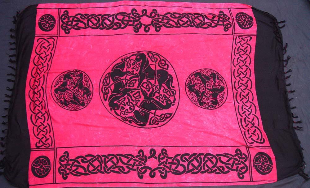 Tuch keltische Pferde rot